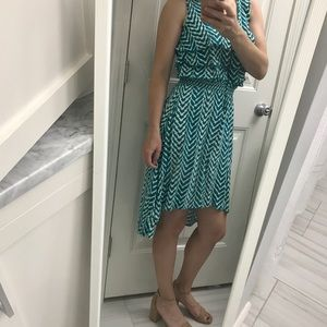 Teal printed high-low cotton dress